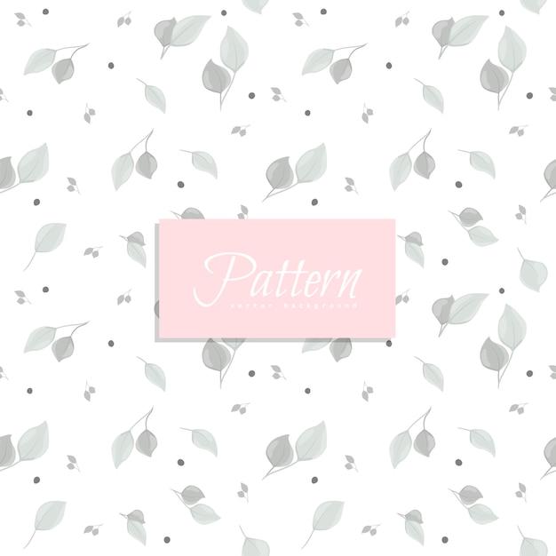 灰色の葉と抽象的なシームレスパターン 無料ベクター