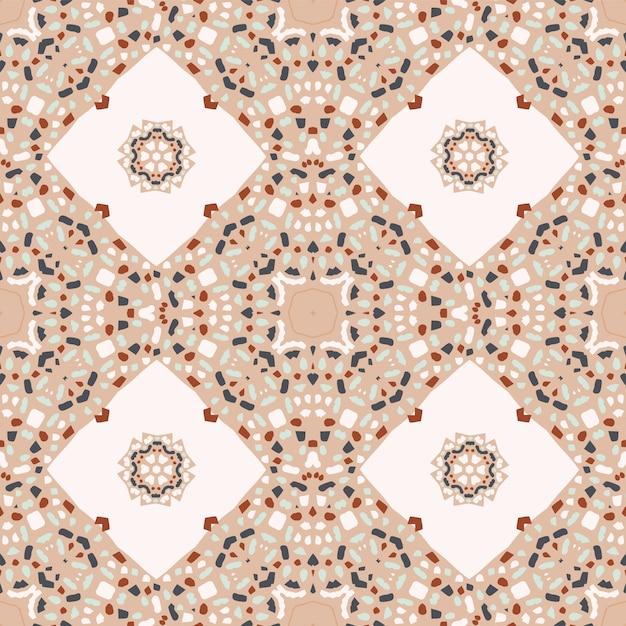 Абстрактный бесшовный паттерн с мозаикой терраццо Premium векторы