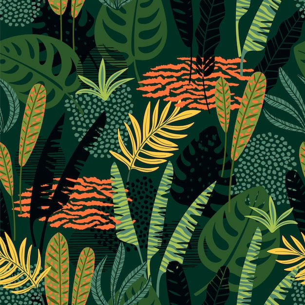 Abstract seamless pattern with tropical leaves. Premium Vector