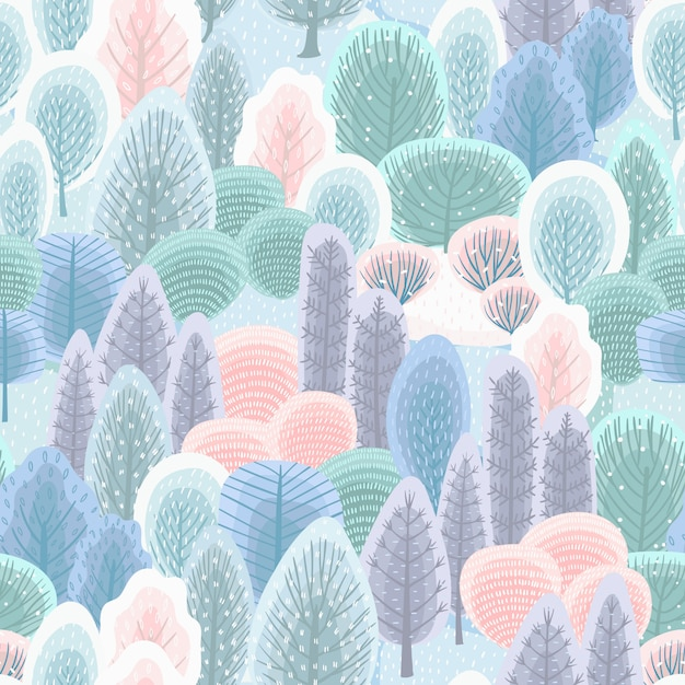 Abstract seamless pattern with winter forest.  background Premium Vector