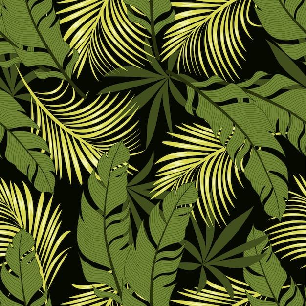 Абстрактный бесшовные тропический узор с яркими листьями и растениями на черном фоне Premium векторы
