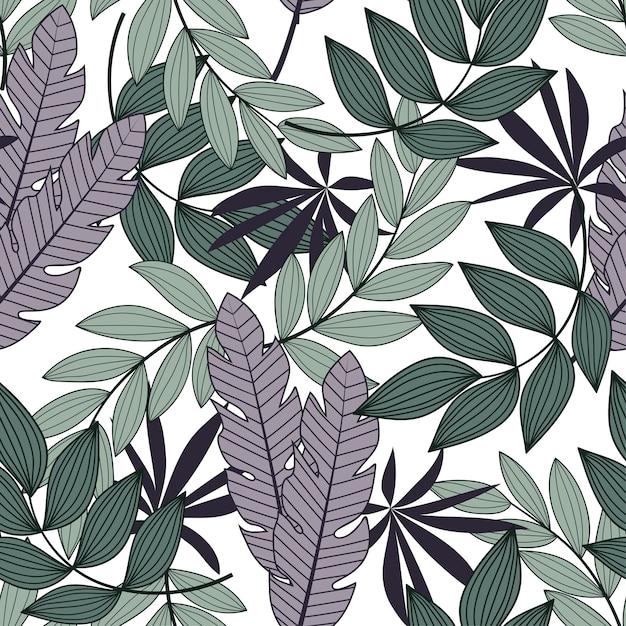 Абстрактный бесшовные тропический узор с яркими листьями и растениями на белом фоне Premium векторы