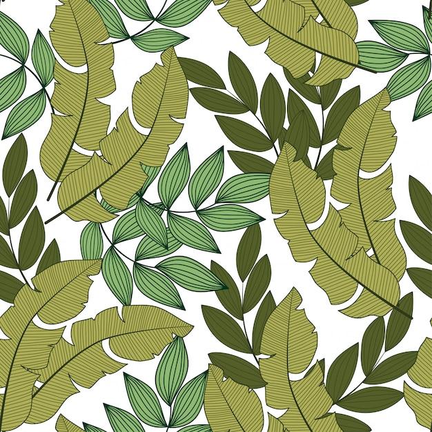 Абстрактный бесшовный тропический узор с яркими растениями и листьями на свете Premium векторы
