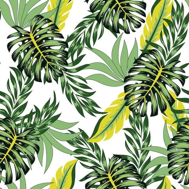 Абстрактный бесшовный тропический узор с яркими растениями и листьями Premium векторы
