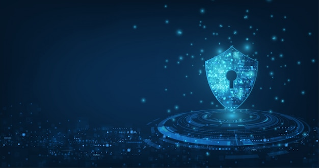 Abstract security digital technology background.protection mechanism and system privacy.vector illustration. Premium Vector