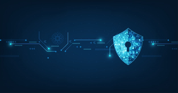 Abstract security digital technology banner Premium Vector
