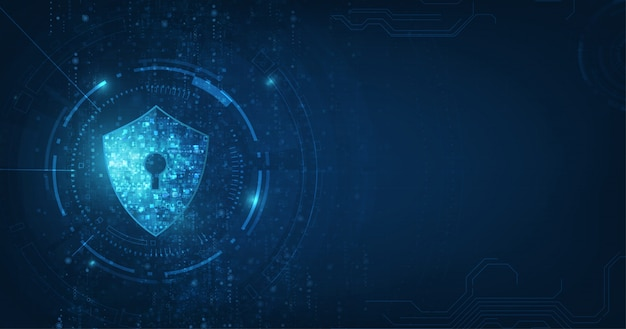 Abstract security digital technology blue background. Premium Vector
