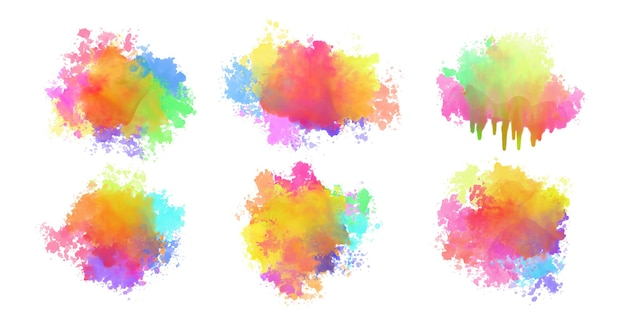Abstract set of colorful watercolor splatters design Free Vector