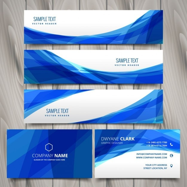 abstract set of web banners and business cards Free Vector