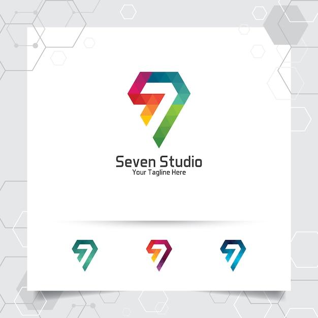 Abstract seven studio logo Premium Vector