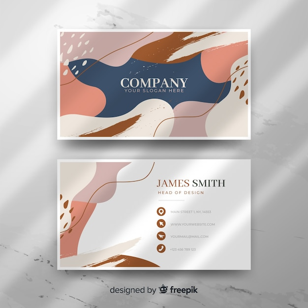 Abstract shape business card template Free Vector
