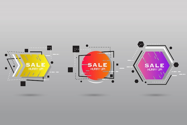 Abstract shape label collection Free Vector