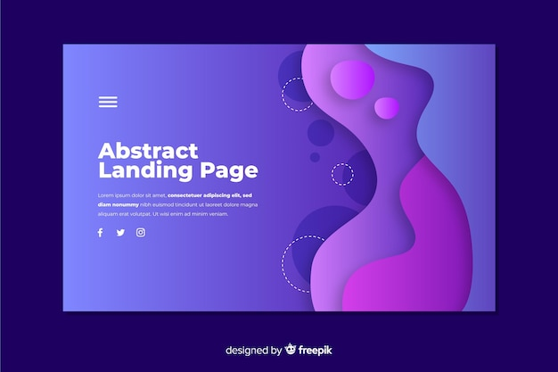 Abstract shape landing page template Free Vector