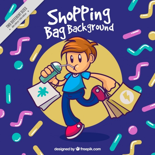 Abstract shapes background of boy with shopping bags Free Vector