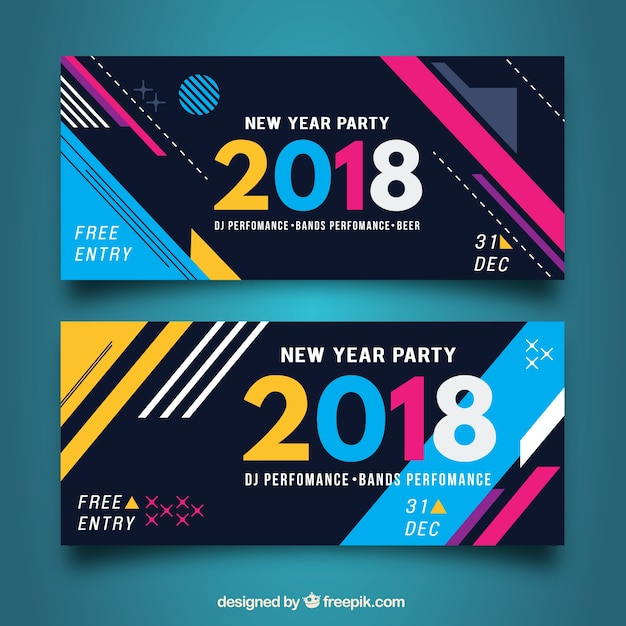 Abstract shapes banners Free Vector