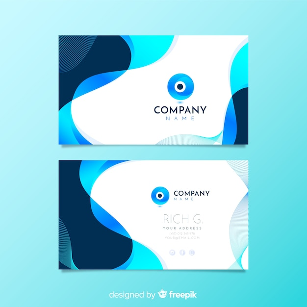 Abstract shapes business card template Free Vector