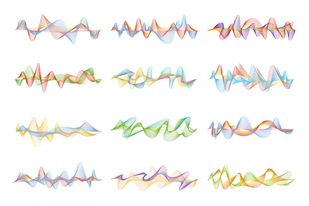 Abstract shapes and graphic waves for music equalizer Premium Vector