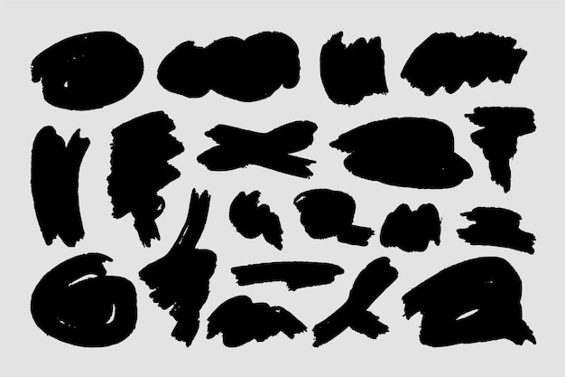 Abstract shapes of ink brush strokes Free Vector