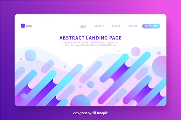 Abstract shapes landing page flat design Free Vector