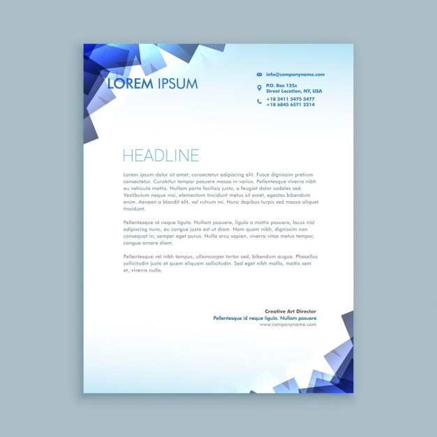 Abstract shapes letterhead design vector free download Blueprint designer free