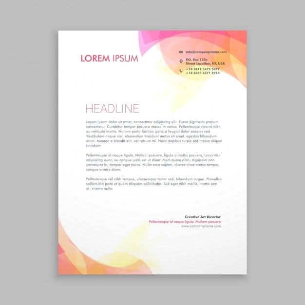 Abstract Shapes Letterhead Template Vector Free Download