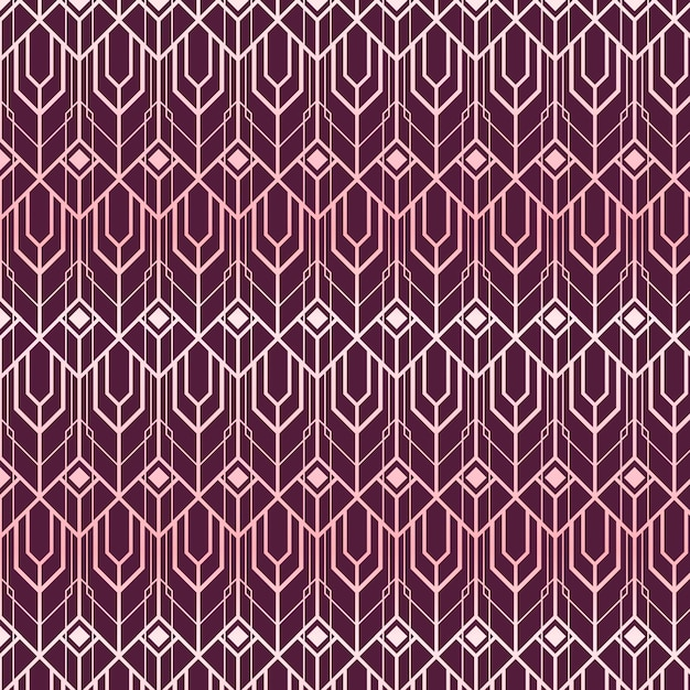 Abstract shapes rose gold art deco pattern Premium Vector