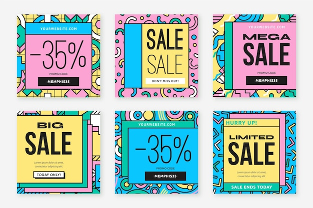 Abstract shapes sale instagram post Premium Vector
