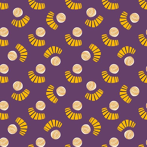 抽象的な形のシームレスな落書きのパターン。黄色の円と紫色の背景に落書きの数字で明るいデザイン。 Premiumベクター