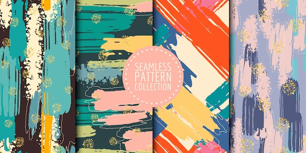 Abstract shapes seamless pattern collection Premium Vector