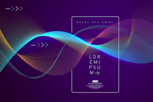 Abstract shining wave background poster template Premium Vector