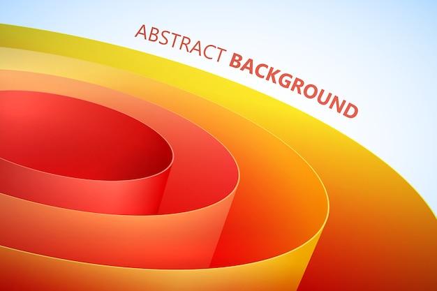 きれいなスタイルのオレンジ色の巻かれた包装紙コイルと抽象的な光沢のある背景 無料ベクター