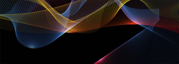 Abstract shiny colorful business wave banner background Free Vector