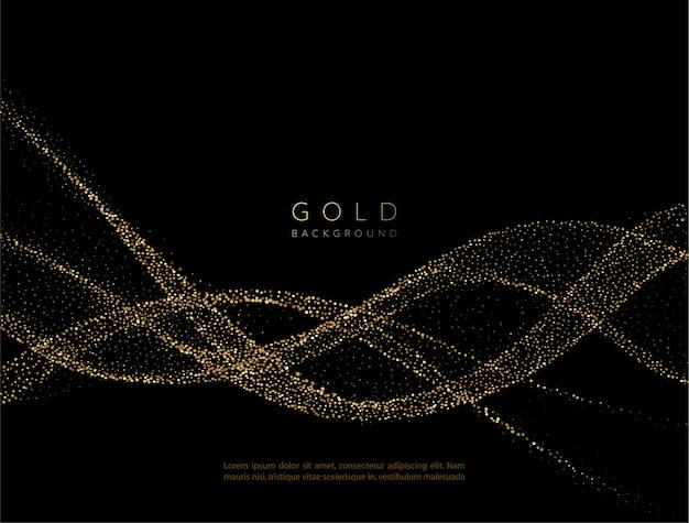 キラキラ効果のある抽象的な光沢のある金色の波状要素。暗い背景にゴールドウェーブを流します。 Premiumベクター