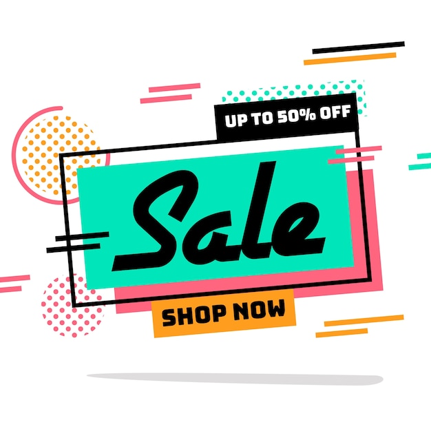 Abstract shop now promotion banner Free Vector