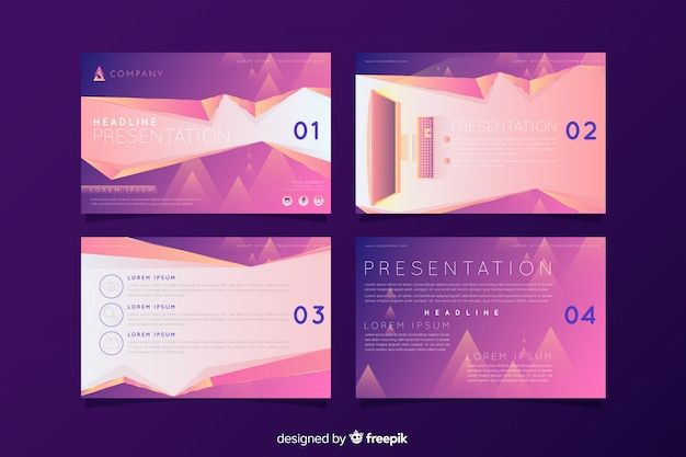 Abstract silde collection Free Vector