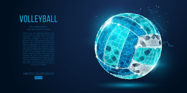 Abstract silhouette of a volleyball ball from particles, lines and triangles on blue background. neon light. elements on a separate layers color can be changed in one click. Premium Vector
