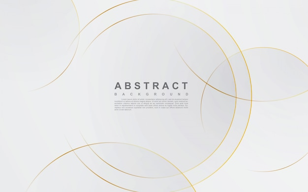 Abstract silver background with circle gold line Premium Vector