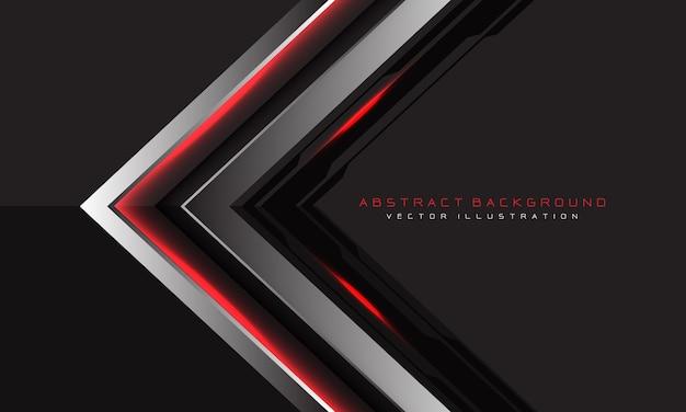 灰色の抽象的な銀黒回路赤光矢印方向 Premiumベクター