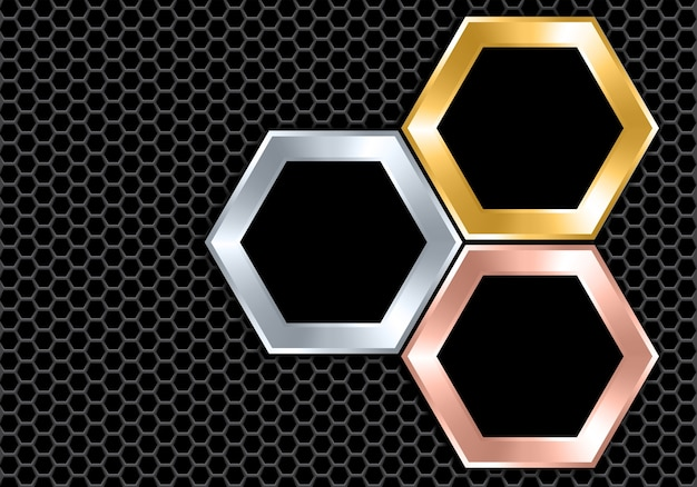 抽象的なシルバーゴールド銅黒六角形 Premiumベクター