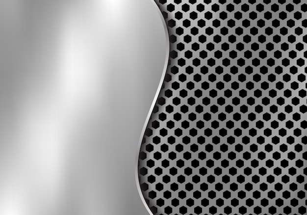 Abstract silver metal background made from hexagon pattern Premium Vector