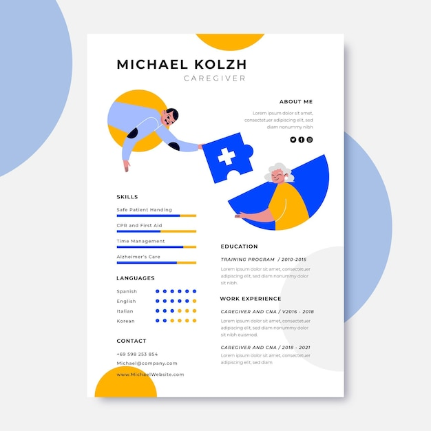 Abstract simple home medical resume Free Vector