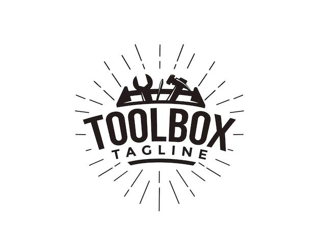 Абстрактный простой промышленный механик ящик для инструментов логотип Premium векторы