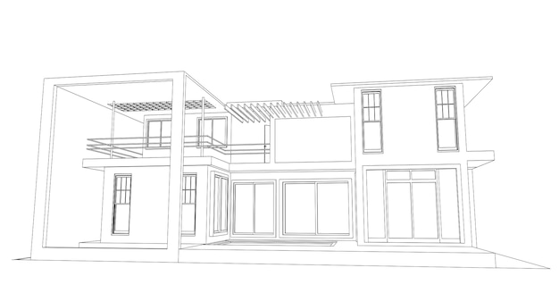 Abstract sketch architectural. Premium Vector
