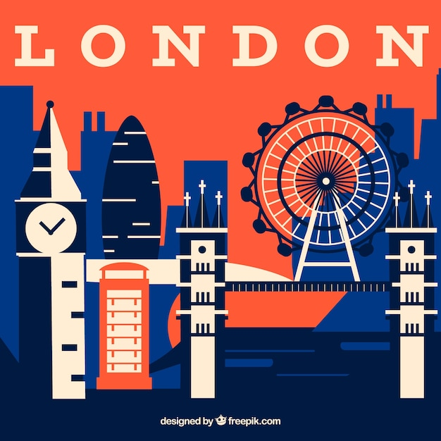 Abstract skyline of london Free Vector