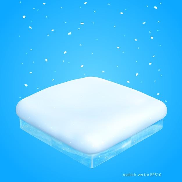 Абстрактный снежный подиум. синий фон для рождественских продаж. Premium векторы