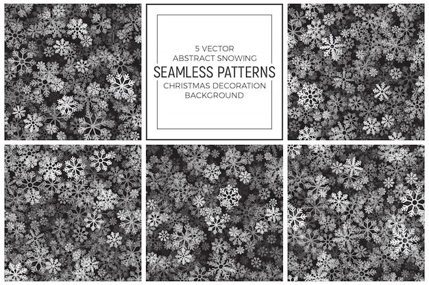 Abstract snow seamless patterns set Premium Vector