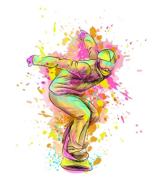 Абстрактный сноубордист из всплеска акварели, рисованной эскиз. векторная иллюстрация красок Premium векторы