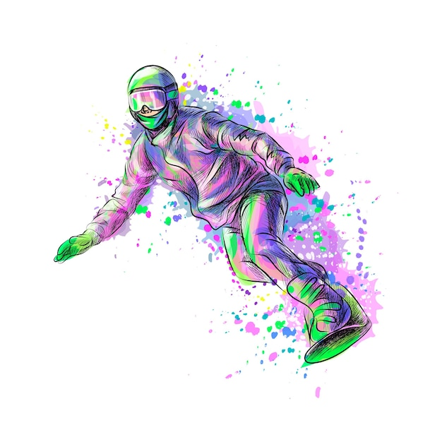 Abstract snowboarder from a splash of watercolor, hand drawn sketch.  illustration of paints Premium Vector
