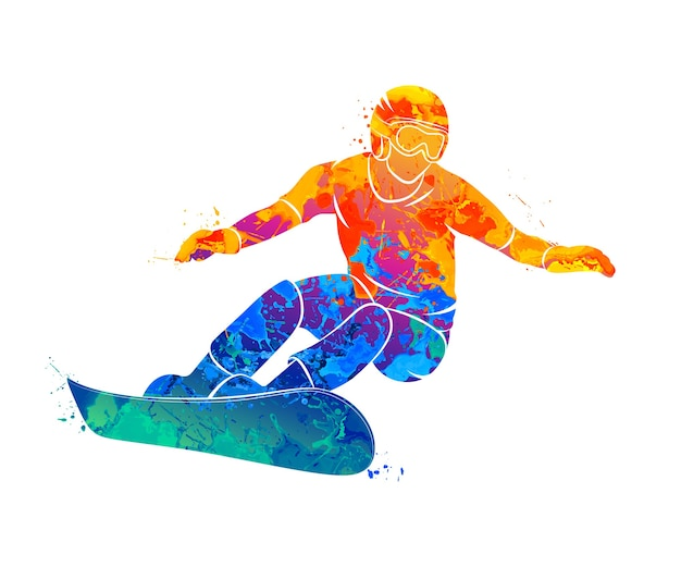 Abstract snowboarder from splash of watercolors.  illustration of paints. Premium Vector