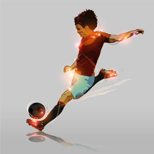 Abstract soccer hard shooting Premium Vector